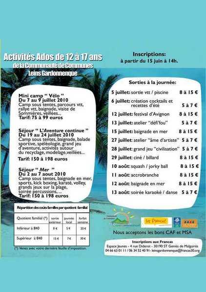 Activites Pour Les 12 17 Ans Pendant Les Vacances D Ete 2010